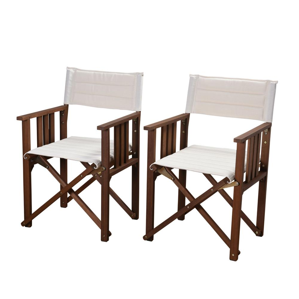 Director Rio Eucalyptus Chairs with Off White Canvas Cover (Set of