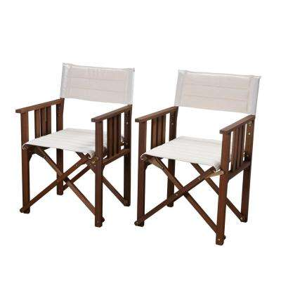 Director Rio Eucalyptus Chairs with Off White Canvas Cover (Set of 2)