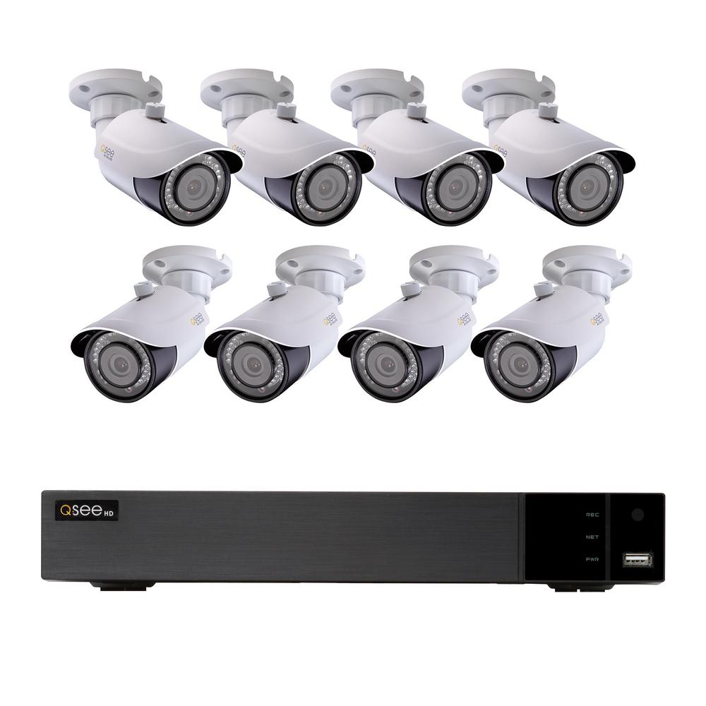 Q-SEE 8-Channel 4K 2TB H 265 NVR Security Surveillance System with (8) 8MP  IP Bullet Cameras