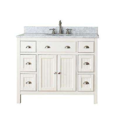 Hamilton 43 in. W x 22 in. D x 35 in. H Vanity in French White with Marble Vanity Top in Carrera White with White Basin