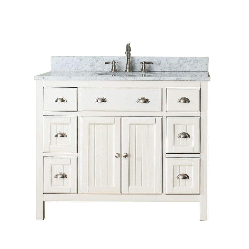 H Vanity In French White With Marble Vanity Top In Carrera White With White  Basin HAMILTON VS42 FW C   The Home Depot