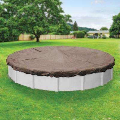 Premium Mesh XL 24 ft. Pool Size Round Taupe and Black Mesh Above Ground Winter Pool Cover