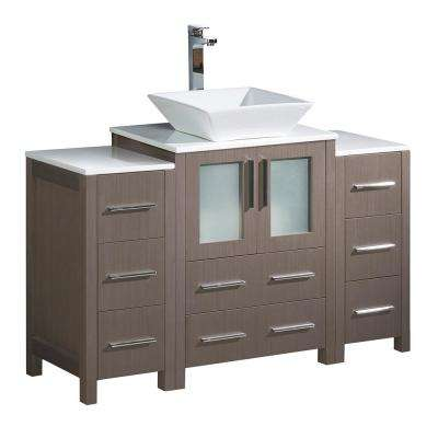Torino 48 in. Bath Vanity in Gray Oak with Glass Stone Vanity Top in White with White Basin and 2 Side Cabinets