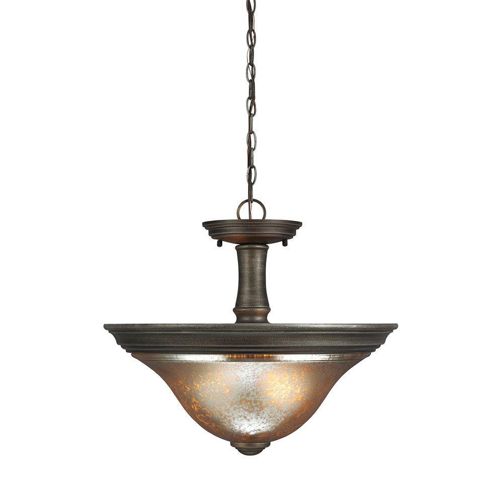 Sea Gull Lighting Blayne 2-Light Platinum Oak Semi-Flush Mount Convertible Pendant with Mercury Glass
