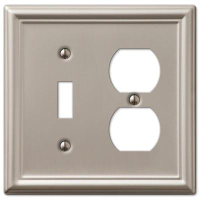Ascher 2 Gang 1-Toggle and 1-Duplex Steel Wall Plate - Brushed Nickel