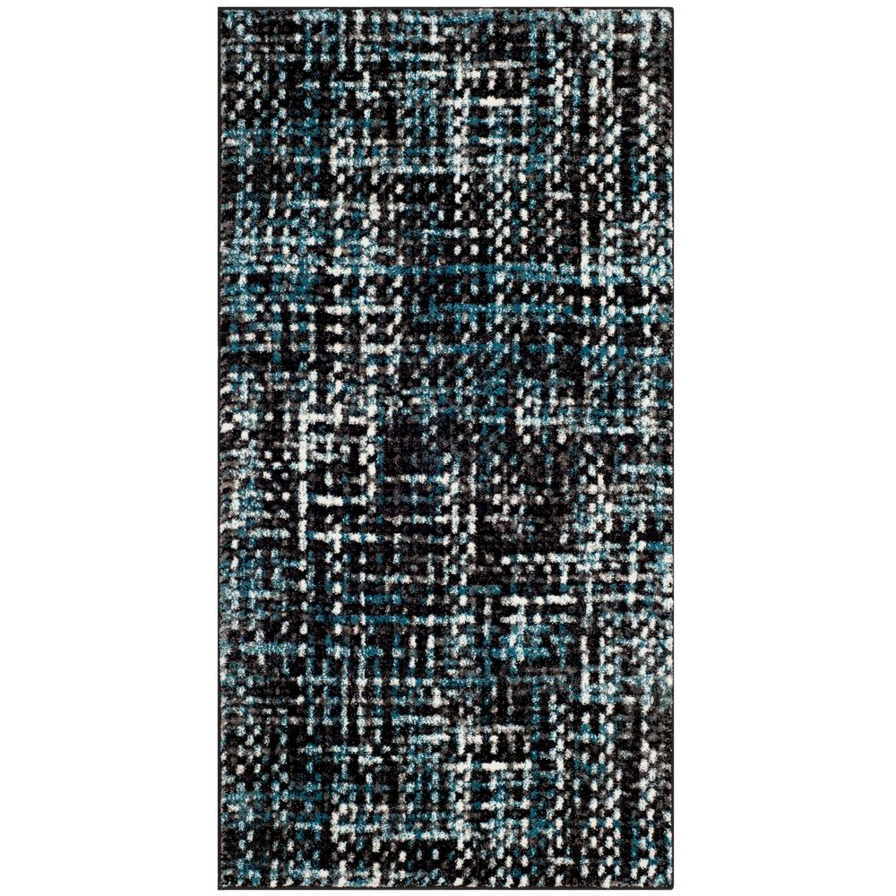 Porcello Charcoal/Blue 2 ft. 7 in. x 5 ft. Area Rug