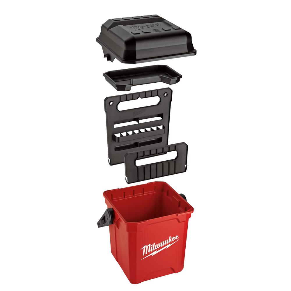 "MILWAUKEE Red Jobsite 13/"" Work Tool Box Durable Portable Lockable Storage Box"