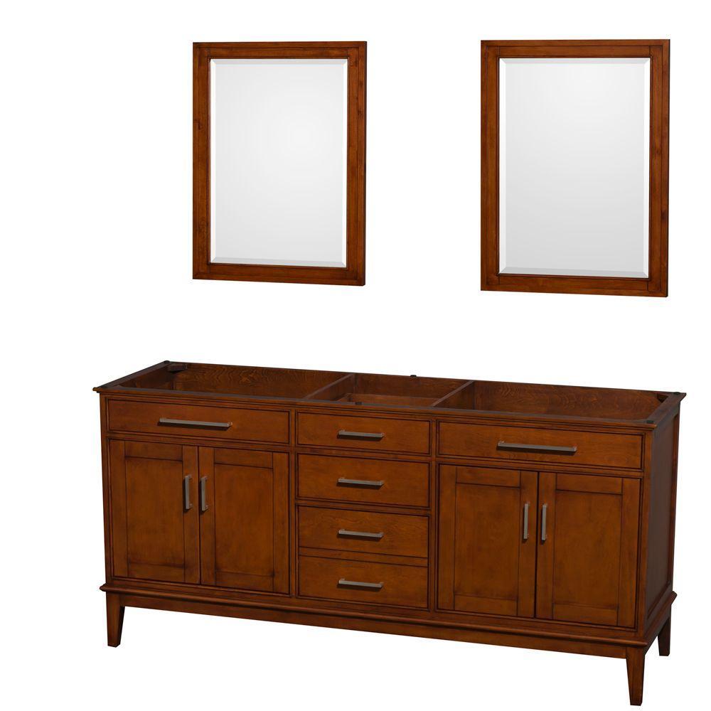 Hatton 71 in. Vanity Cabinet with Mirror in Light Chestnut