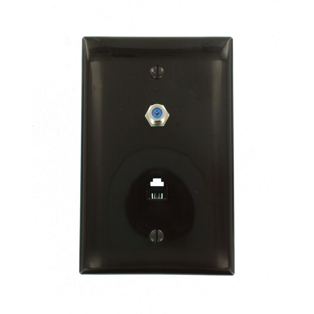 6P4C Midway Size F-Connector Wall Phone/Video Jack in Brown
