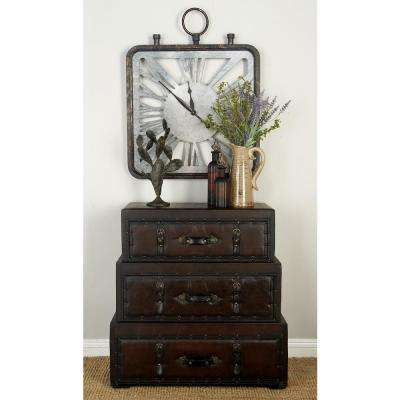 New Traditional Brown Leather Wooden Steamer Trunk Cabinet