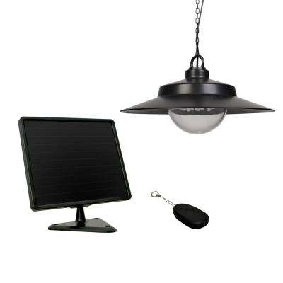 Battery solar powered outdoor ceiling lighting outdoor black solar hanging light with remote aloadofball Gallery