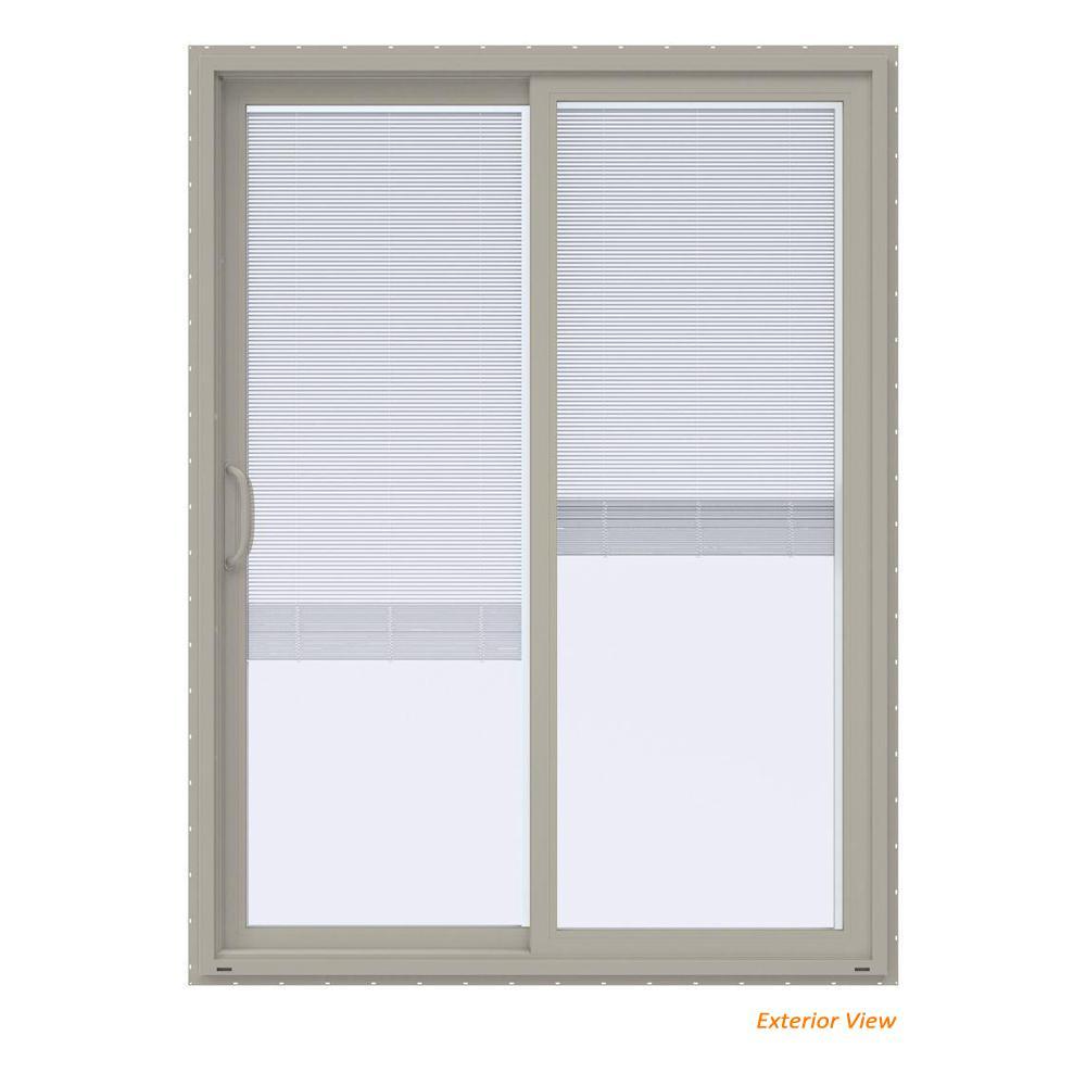 60 in. x 80 in. V-4500 Contemporary Desert Sand Vinyl Left-Hand Full Lite Sliding Patio Door w/Blinds