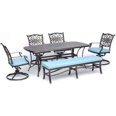 Traditions 6-Piece Aluminum Outdoor Dining Set with 4 Swivel Rockers, Cushioned Bench and Blue Cushions