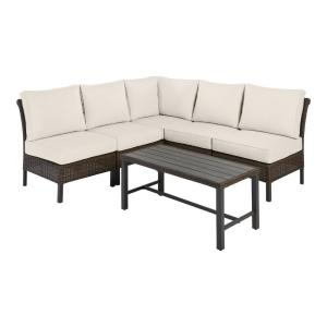 Harper Creek 6-Piece Brown Steel Outdoor Patio Sectional Sofa Seating Set with CushionGuard Almond Tan Cushions