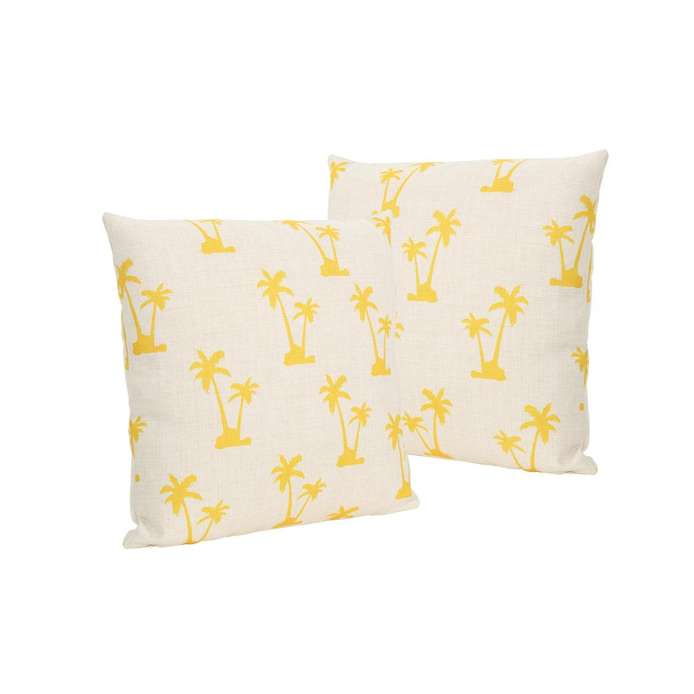Outdoor Pillows Set Of 2.Noble House Palm Trees Beige And Yellow Square Outdoor Throw Pillows Set Of 2
