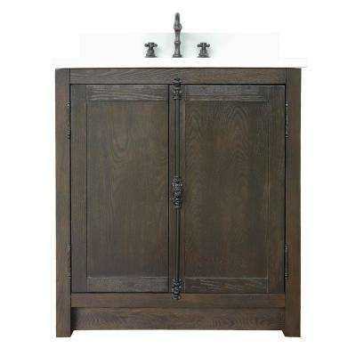 Plantation 31 in. W x 22 in. D Bath Vanity in Brown with Quartz Vanity Top in White with White Rectangle Basin