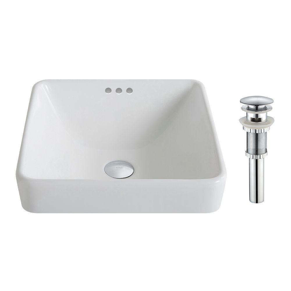 Kraus Elavo Series Square Ceramic Semi Recessed Bathroom Sink In White With Overflow And Pop Up