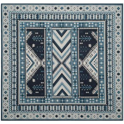 Classic Vintage Navy/Light Blue 6 ft. x 6 ft. Square Area Rug