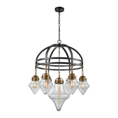 Gramercy 7-Light Oil Rubbed Bronze with Classic Brass Highlights Chandelier with Clear Glass Shades