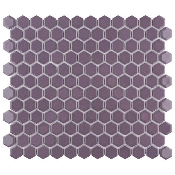 Metro Hex 1 in. Glossy Purple 10-1/4 in. x 11-7/8 in. Porcelain Mosaic Tile (8.65 sq. ft./Case)