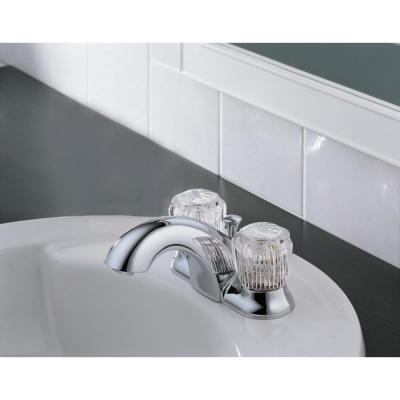 Classic 4 in. Centerset 2-Handle Bathroom Faucet with Metal Drain Assembly in Chrome