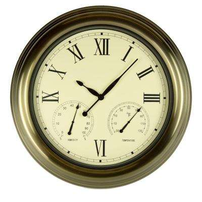 18 in. Bronze Clock, Thermometer and Hygrometer