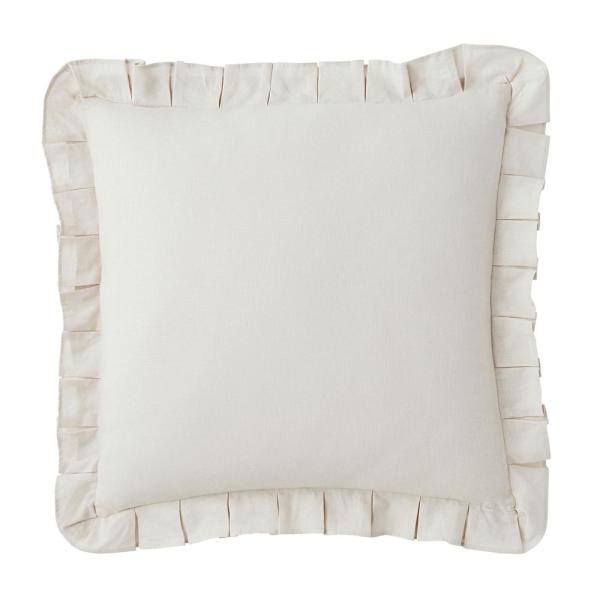 Linen Cotton Solid Snow Ruffled 18 in. x 18 in. Throw Pillow Cover
