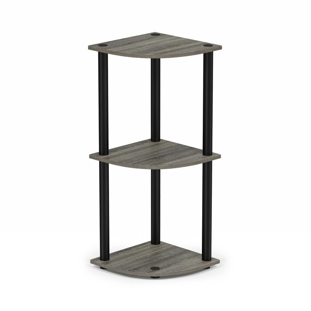 Turn-N-Tube French Oak Grey/Black 3-Shelf Corner Open Shelf