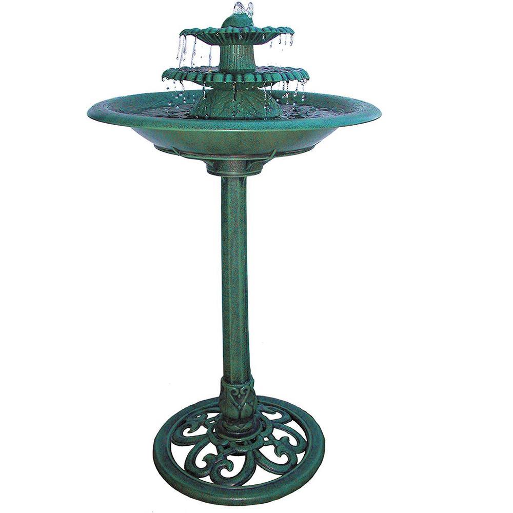 3-Tiered Vintage Pedestal Water Fountain and Bird Bath, Green