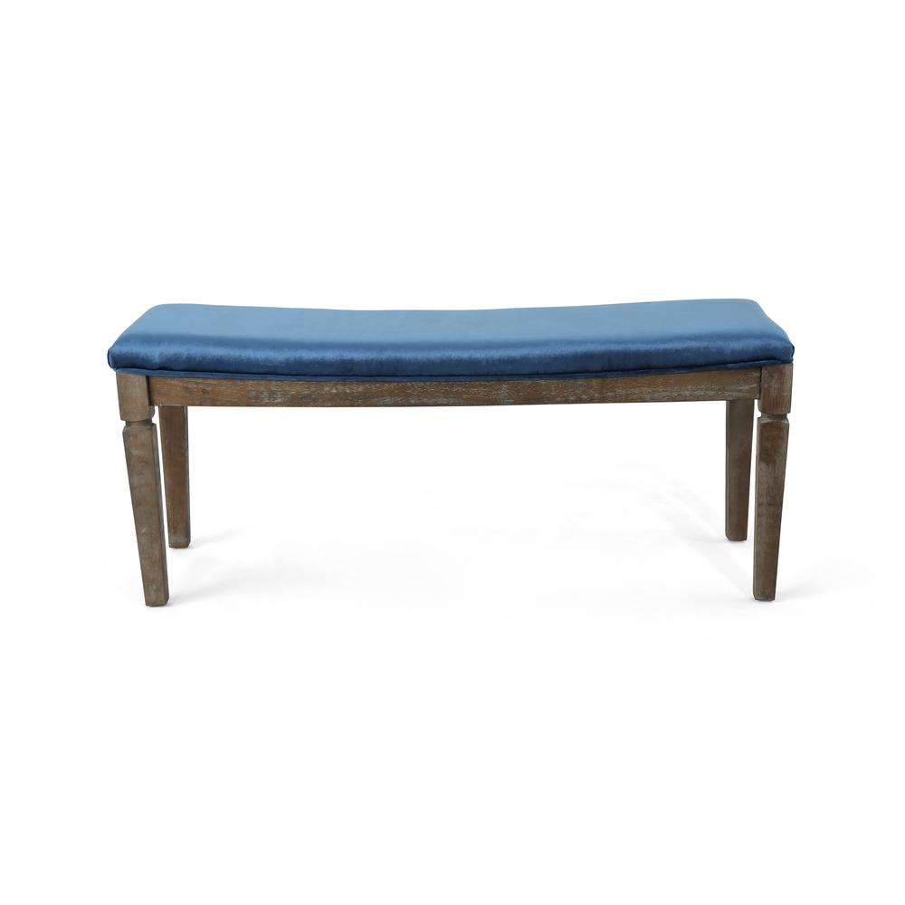 Le House Ophir Cobalt Velvet Bench With Black Walnut Wood Frame 306006 The Home Depot