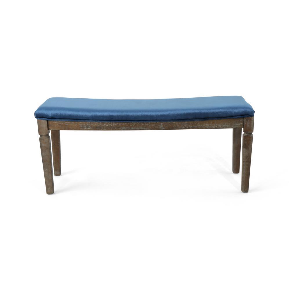 Ophir Cobalt Velvet Bench with Black Walnut Wood Frame