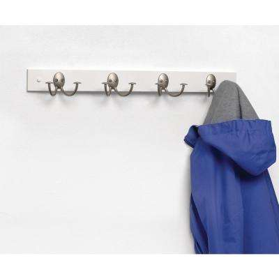 Stratford 24 in. L Decorative 4-Double Hook Wall Mount Wood Rack in White with Satin Nickel Hook
