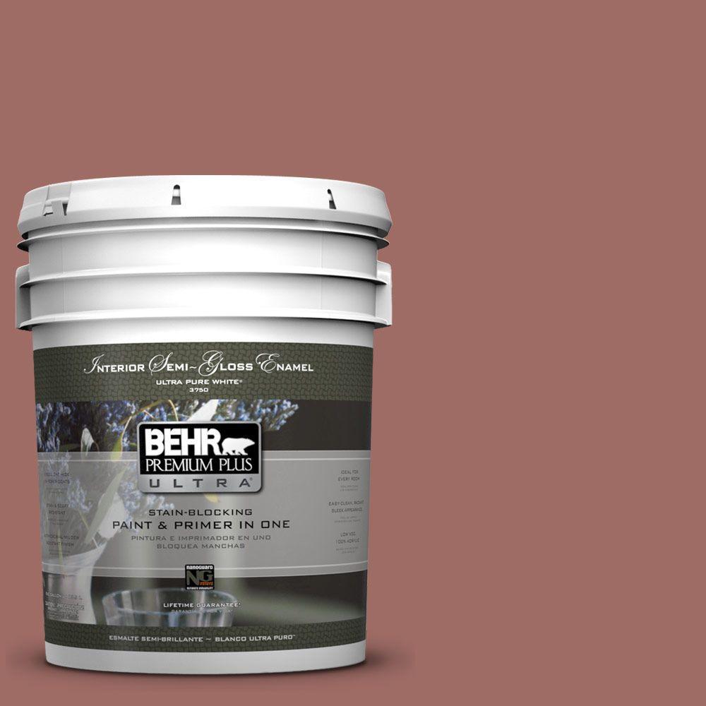 5 gal. #190F-5 Brandy Semi-Gloss Enamel Interior Paint and Primer in