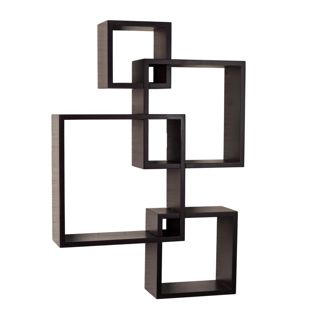 Contempo 18 in. x 25.5 in. Espresso MDF Intersecting Cube Shelves