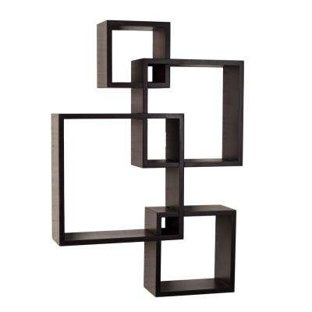 Contempo 18 in. x 25.5 in. Espresso MDF Intersecting Cube Shelves