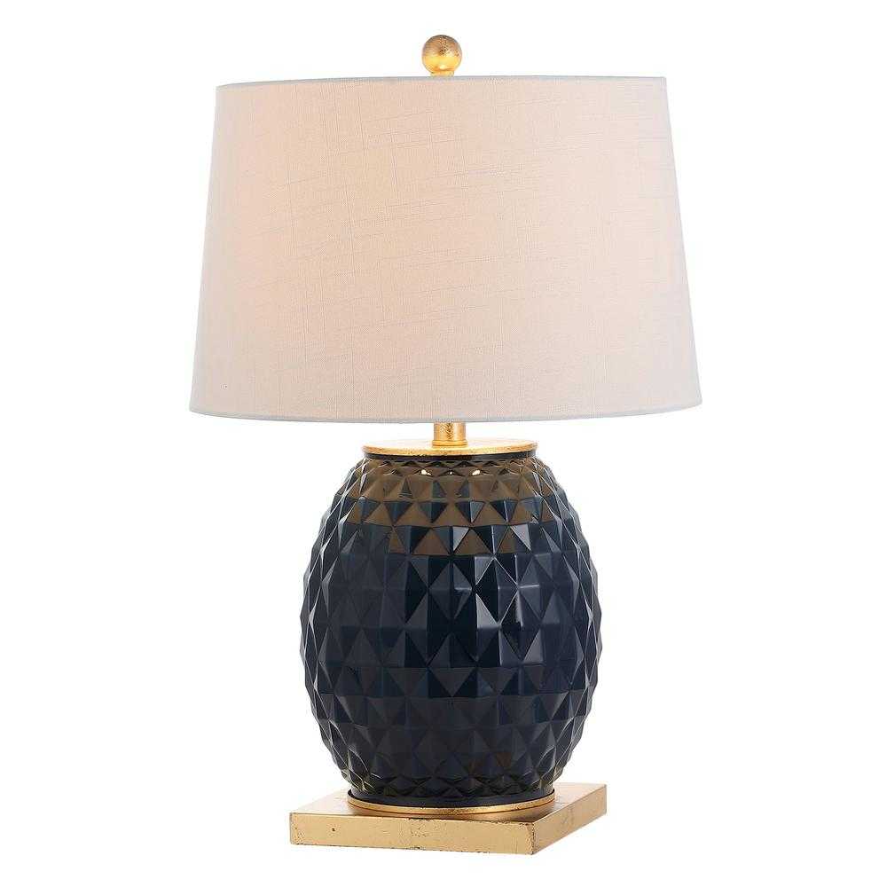 Diamond 25.5 in. Navy/Gold Leaf LED Glass/Metal Table Lamp