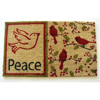Peace with Dove and Cardinals 18 in. x 30 in. Coir with PVC Backing Doormat