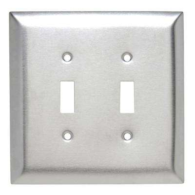 302 Series 2-Gang Jumbo Toggle Wall Plate, Stainless Steel