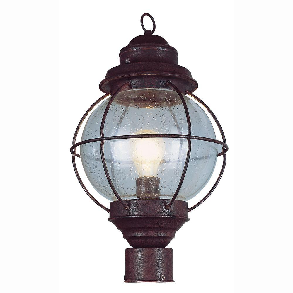 Bel Air Lighting Lighthouse 1-Light Outdoor Rustic Bronze Post Top Lantern with Seeded Glass