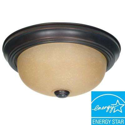 2-Light Mahogany Bronze Flush Mount