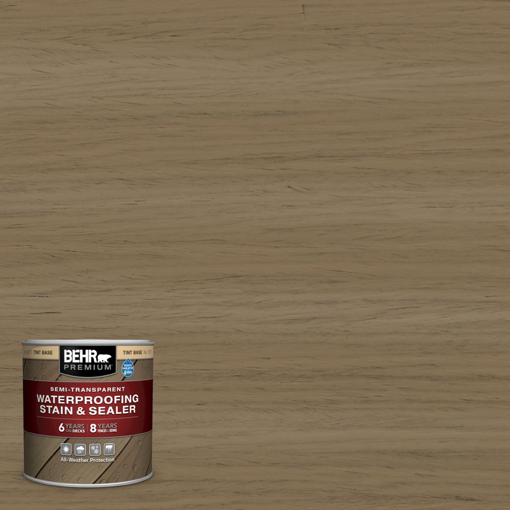 BEHR Premium 8 oz. #ST-153 Taupe Semi-Transparent Waterproofing Exterior Wood Stain and Sealer Sample