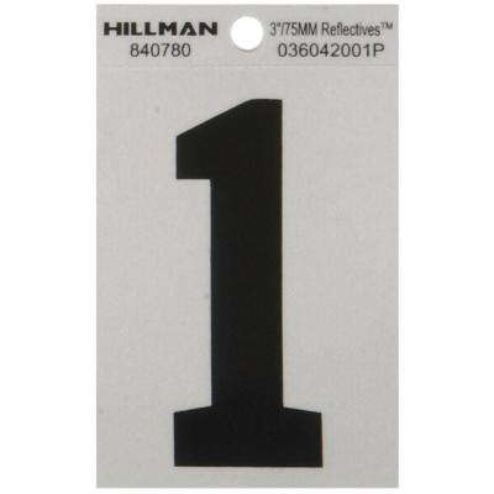 3 in. Vinyl Reflective Number 1