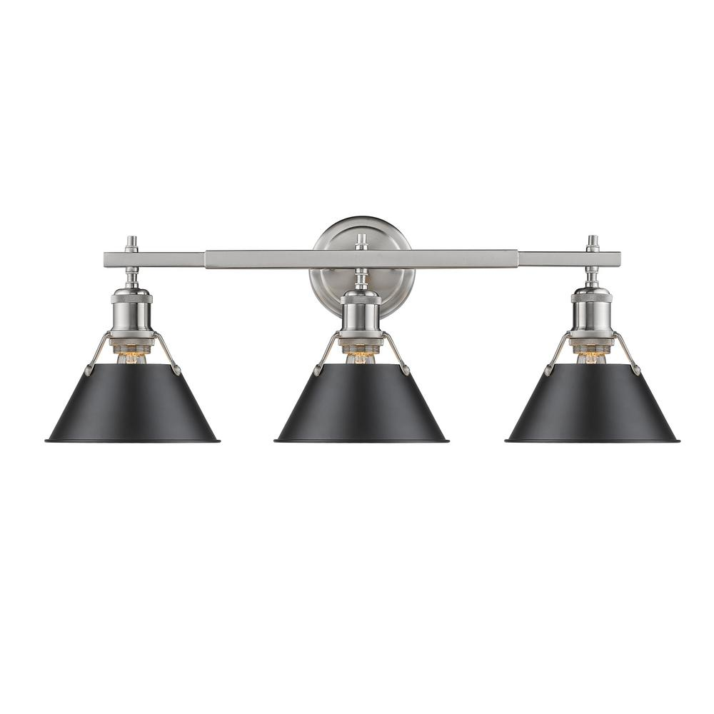 black bathroom vanity light golden lighting orwell pw 3 light pewter bath light with 17386