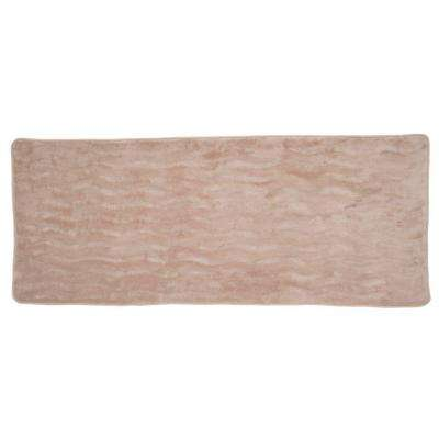 Taupe 24.25 in. x 60 in. Memory Foam Extra Long Bath Mat