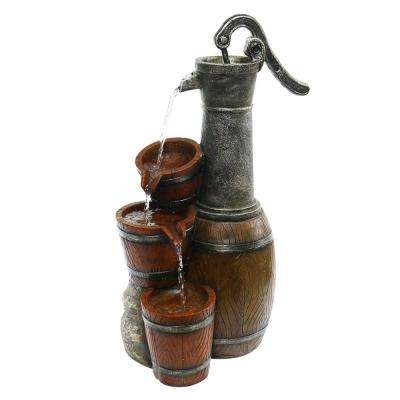 24 in. Tall Vintage Barrel Water Pump with Buckets Fountain