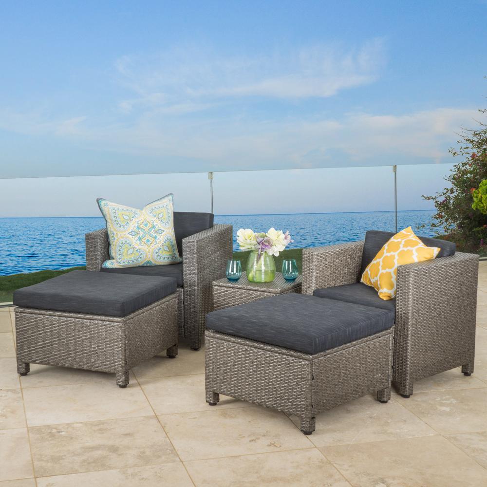 Puerta Mix Black 5-Piece Wicker Patio Conversation Set with Dark Grey Cushions