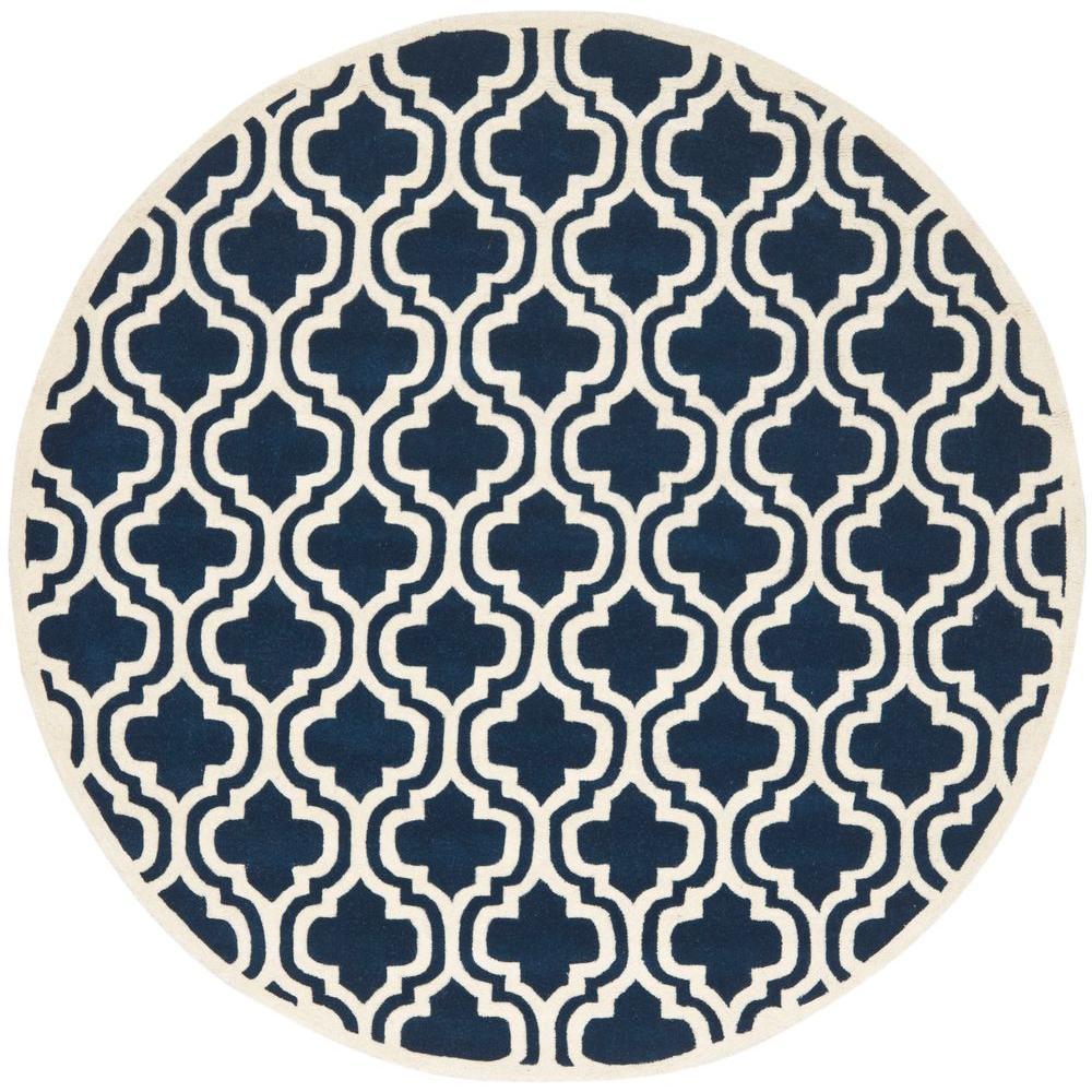 Safavieh Chatham Dark Blue/Ivory 7 ft. x 7 ft. Round Area Rug