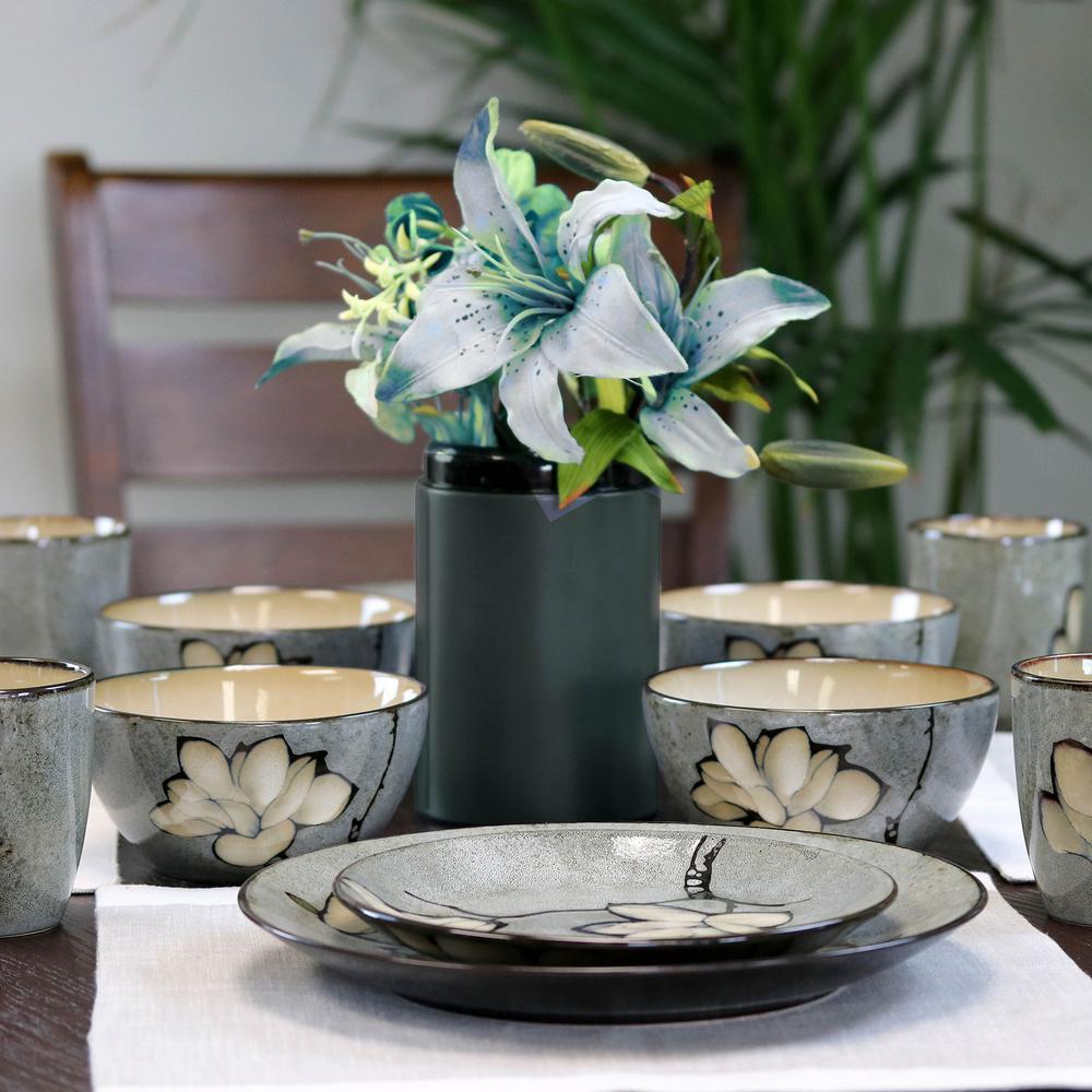 Dakari 16-Piece Grey Stoneware Dinnerware Set