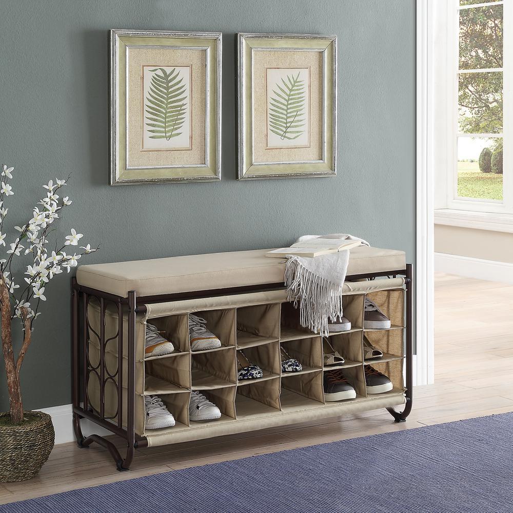 Brown/Beige Shoe Storage Bench