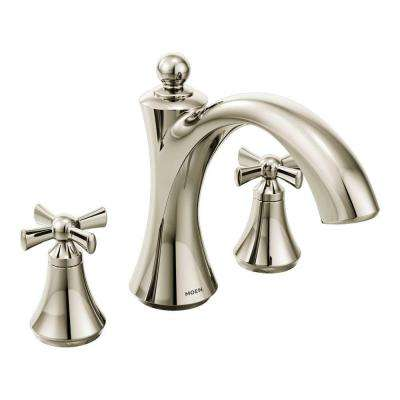 Wynford 2-Handle Deck-Mount Roman Tub Faucet in Polished Nickel